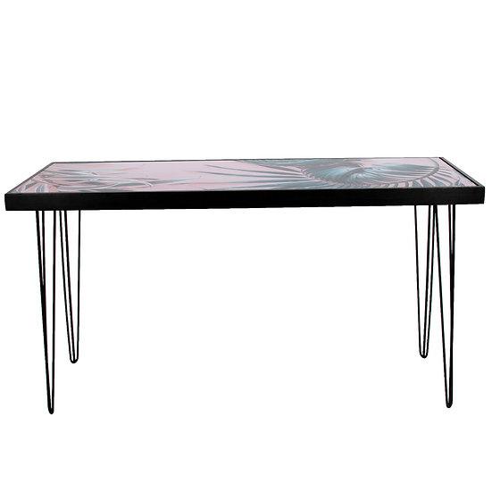 Tapas Table Pink Palm Print Top, Black Frame w/ Black Hair Pin Legs