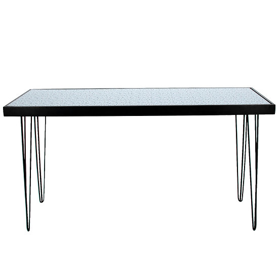 Tapas Table Terrazzo Top, Black Frame w/ Black Hair Pin Legs