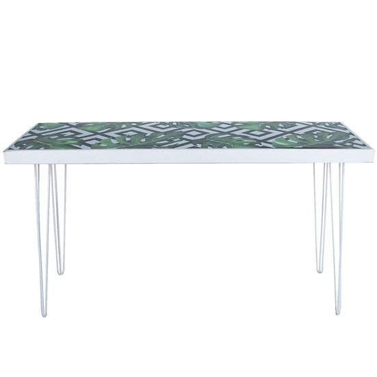 Tapas Table Tropical Top, White Frame w/ White Hair Pin Legs