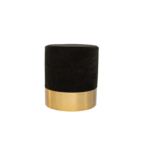 Ottoman Black Velvet Round w/ Gold Trim