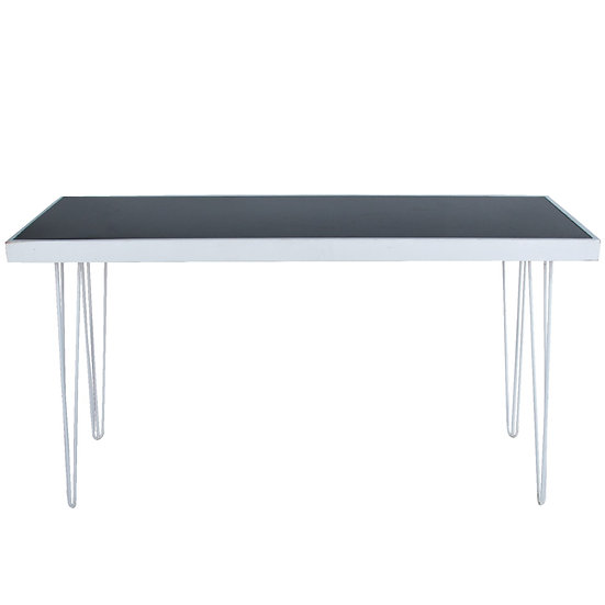Tapas Table Black Acrylic, White Frame w/ White Hair Pin Legs
