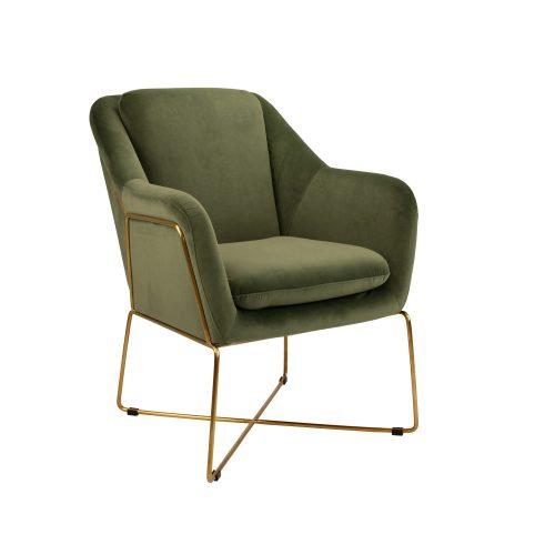 Chair Olive Velvet w/ Gold Legs