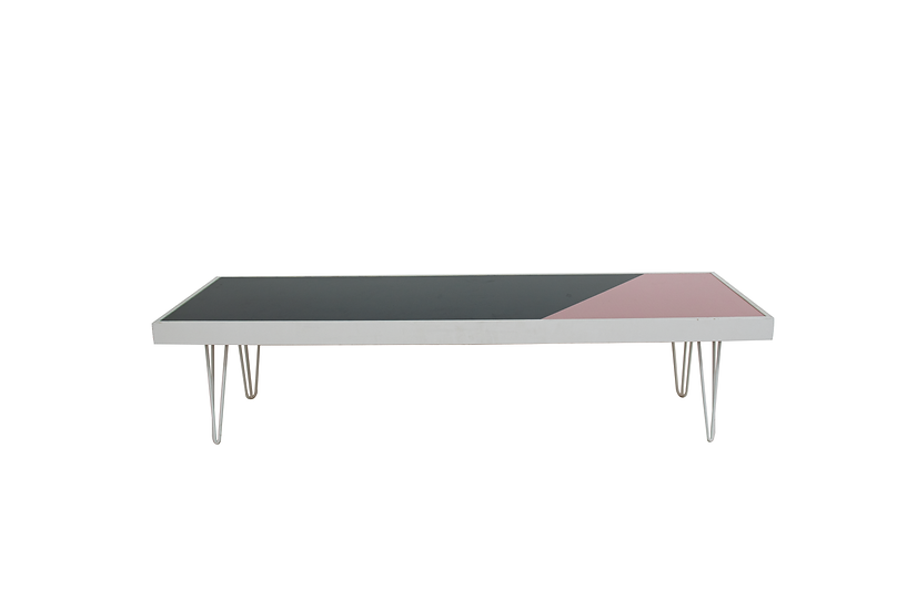 Coffee Table Green & Pink, White Frame w/ White Hair Pin Legs