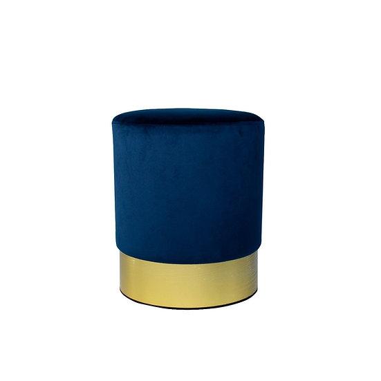 Ottoman Navy Velvet Round w/ Gold Trim