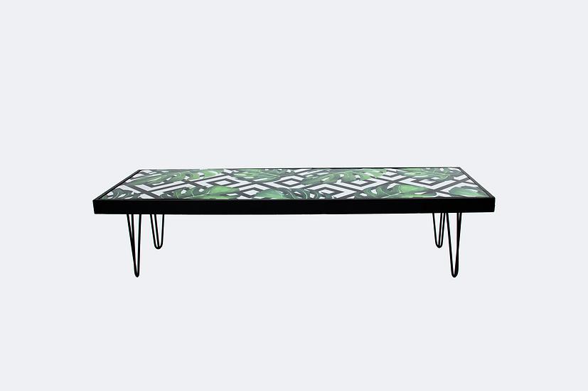 Coffee Table Tropical, Black Frame w/ Black Hair Pin Legs
