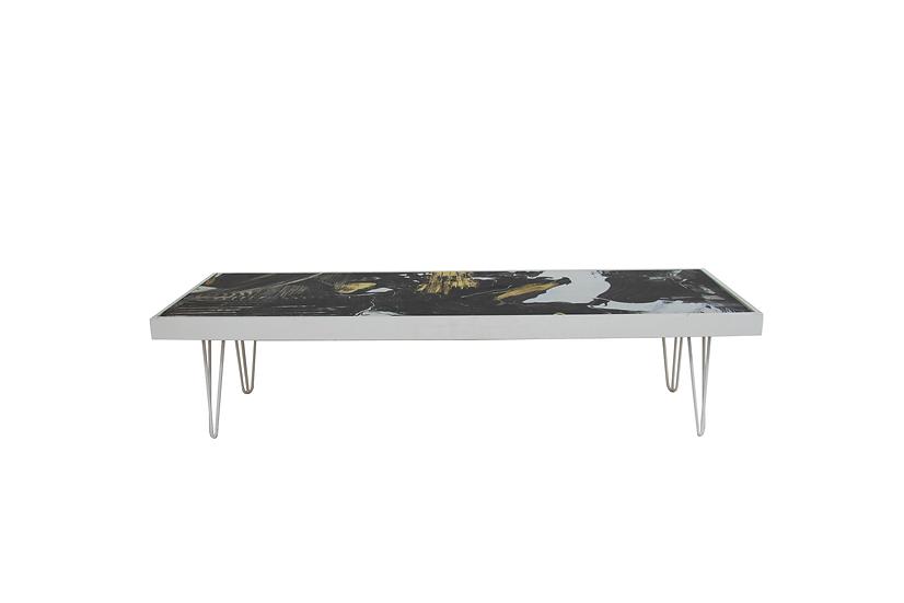 Coffee Table Pattern, White Frame w/ White Hair Pin Legs