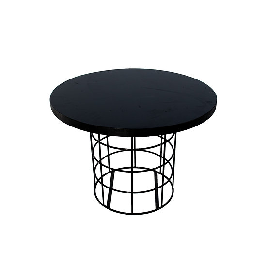 Coffee Table Black Round w/ Black Wire Base