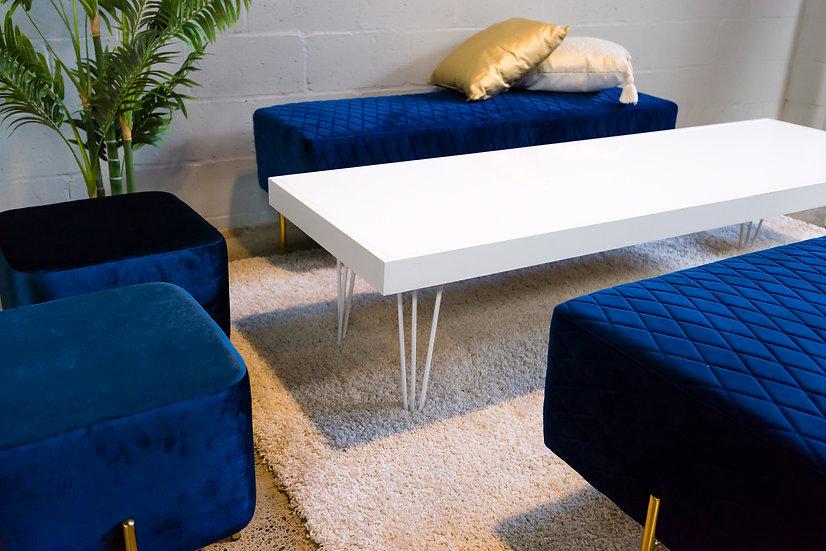 Coffee Table White Acrylic, White Frame & White Hair Pin Legs