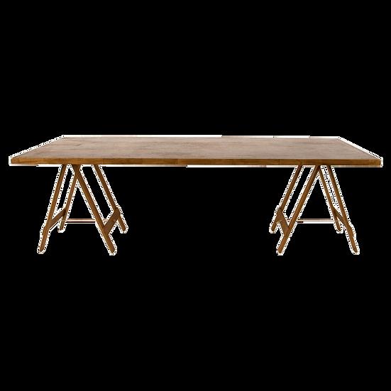 Dining Table Oak Feasting w/ Oak Trestle Legs