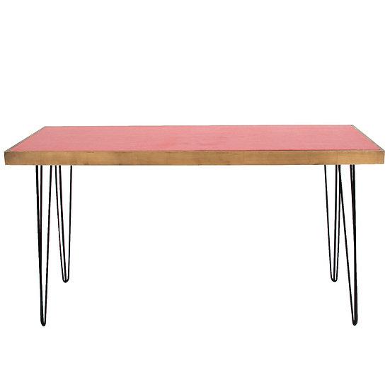 Tapas Table Coral Top, Oak Frame w/ Black Hair Pin Legs