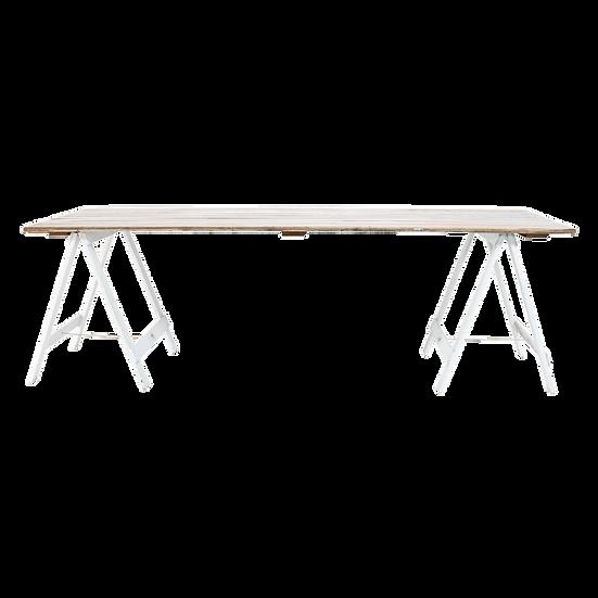 Dining Table White Wash w/ White Trestle Legs