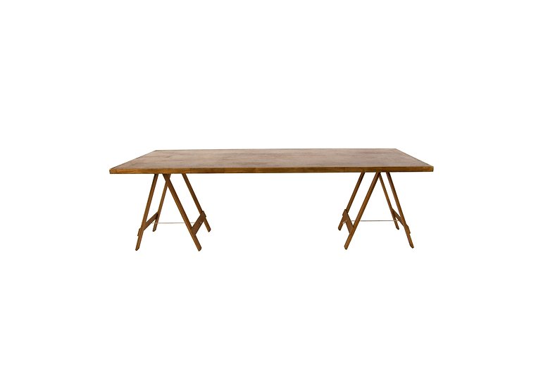 Dining Table Oak Feasting w/ Oak Trestle Legs