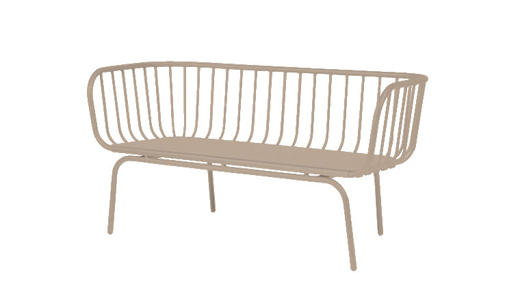 Lounge Outdoor Beige 2 Seater Wire