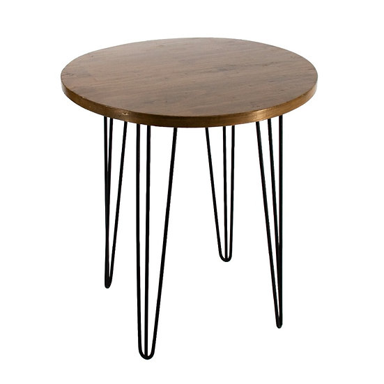 Cafe Table Oak Round w/ Black Hair Pin Legs