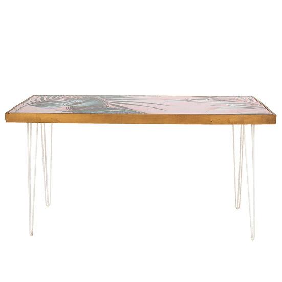 Tapas Table Pink Palm Print Top, Oak Frame w/ White Hair Pin Legs