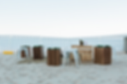 Low Seating, Beach Event, Beach Furniture, Sand Event, Crate Coffee table, timber stool