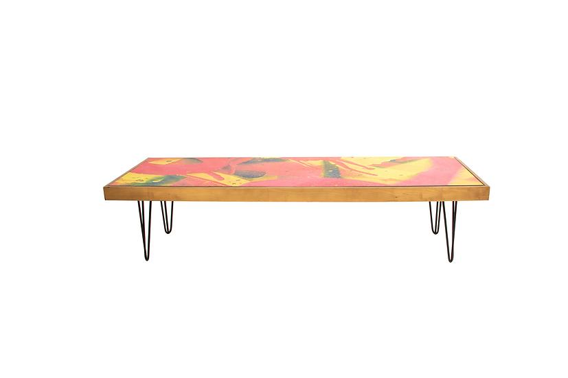 Coffee Table Graffiti, Oak Frame w/ Black Hair Pin Legs