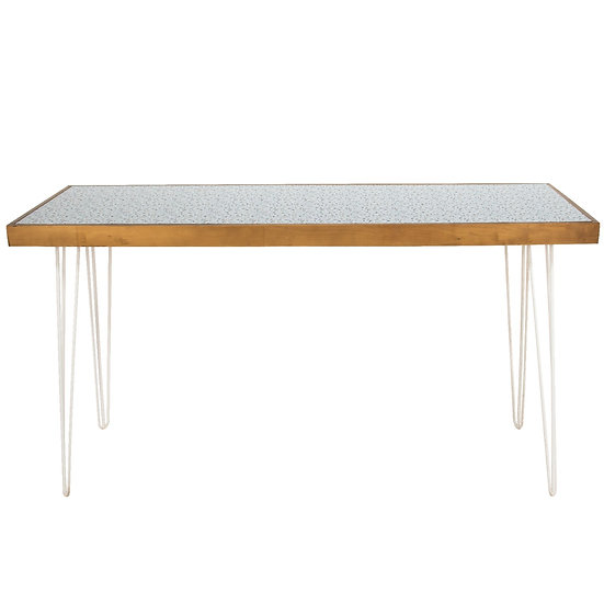 Tapas Table Terrazzo Top, Oak Frame w/ White Hair Pin Legs
