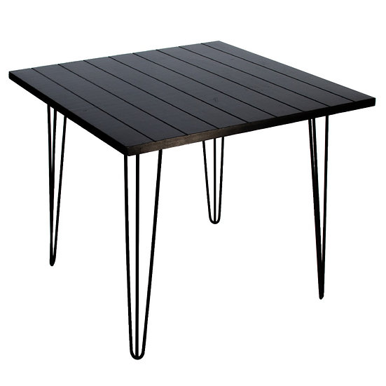 Cafe Table Black Square w/ Black Hair Pin Legs