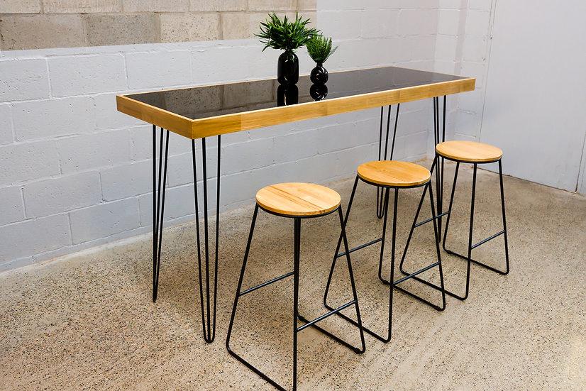 Tapas Table Black Acrylic, Oak Frame w/ Black Hair Pin Legs