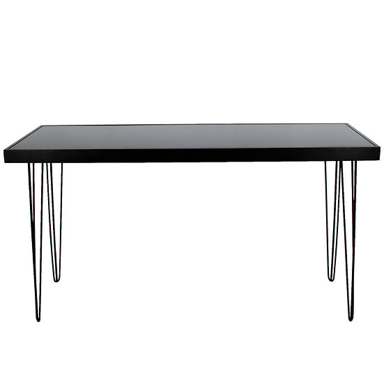 Tapas Table Black Acrylic, Black Frame w/ Black Hair Pin Legs
