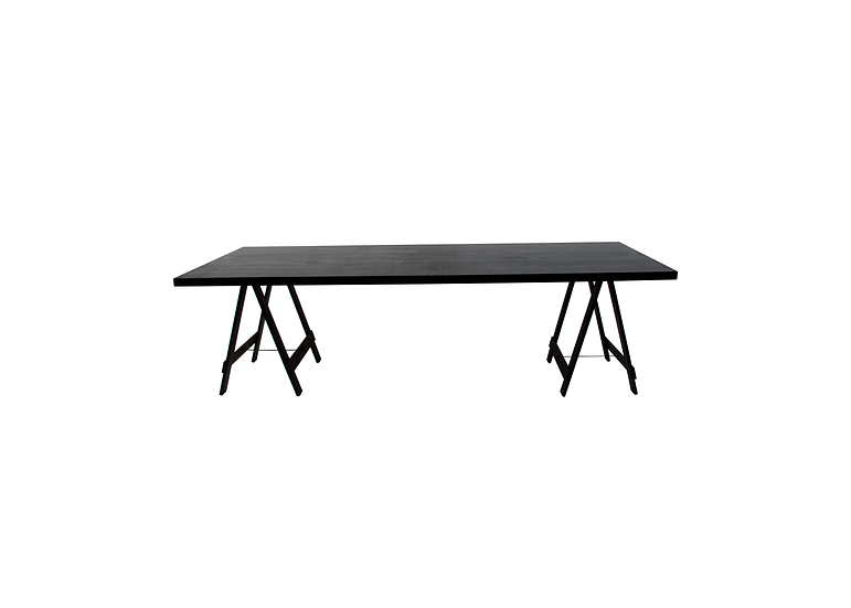 Dining Table Black Feasting w/ Black Trestle Legs