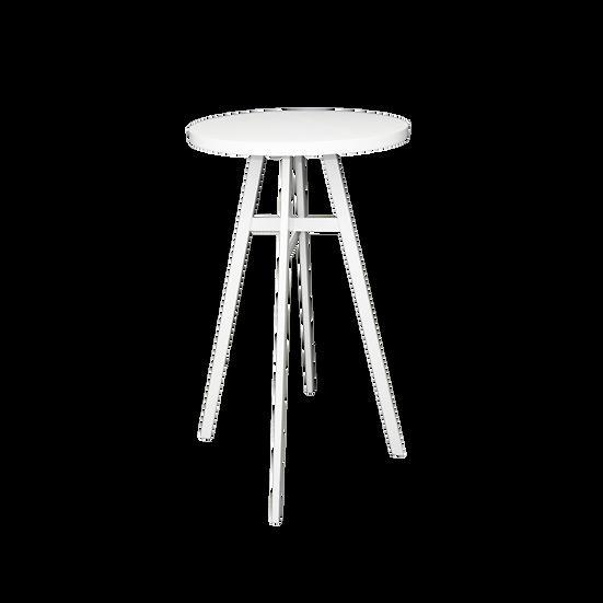 Dry Bar White Round w/ White Metal Legs