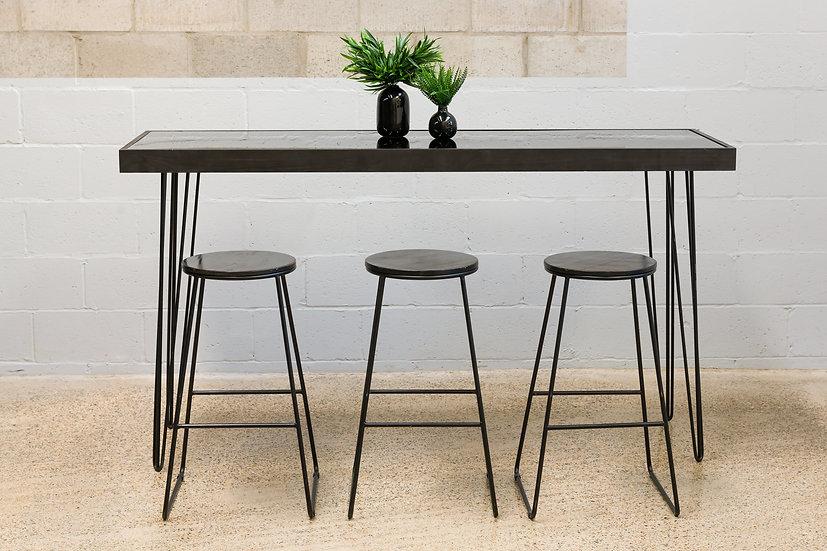 Tapas Table Black Acrylic, Black Frame w/ Black Hair Pin Legs