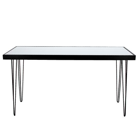 Tapas Table White Acrylic, Black Frame w/ Black Hair Pin Legs