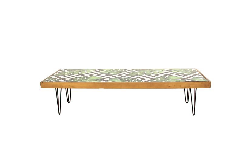 Coffee Table Tropical, Oak Frame w/ Black Hair Pin Legs