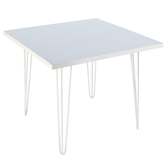 Cafe Table White Square w/ White Hair Pin Legs
