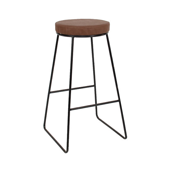 High Stool Industrial Black w/ Tan Leather Top