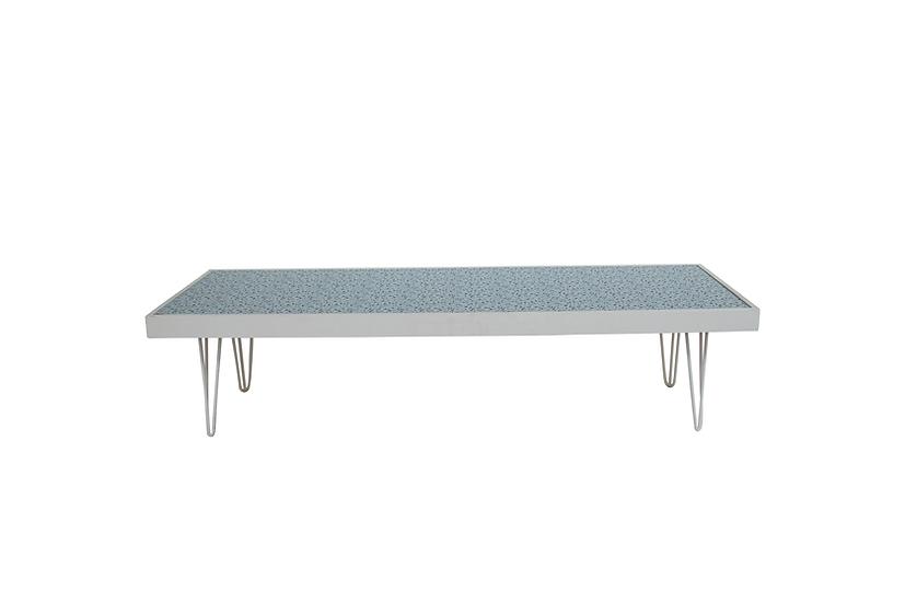 Coffee Table Terrazzo, White Frame w/ White Hair Pin Legs