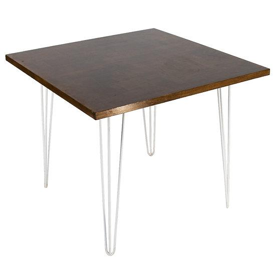 Cafe Table Oak Square w/ White Hair Pin Legs