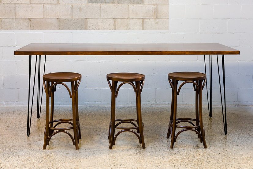 High Bar Mahogany Stained Feasting w/ Black Hair Pin Legs