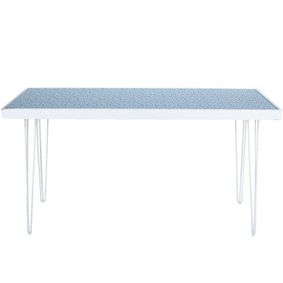 Tapas Table Terrazzo Top, White Frame w/ White Hair Pin Legs