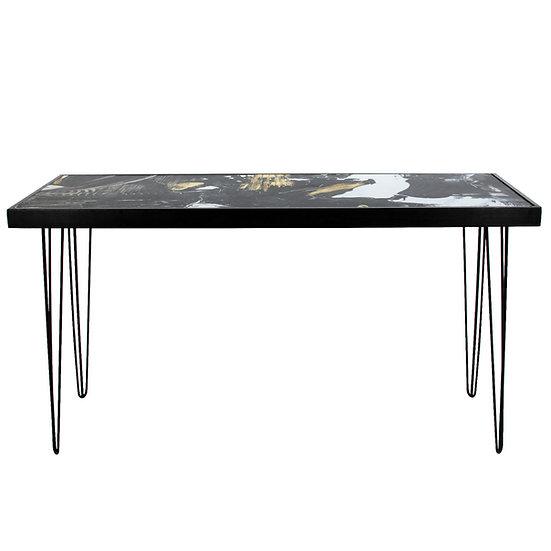 Tapas Table Pattern Top, Black Frame w/ Black Hair Pin Legs