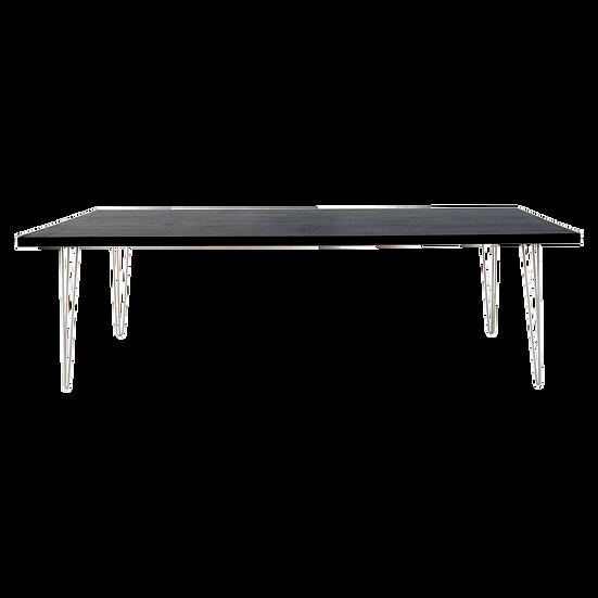 Dining Table Black Feasting w/ White Hair Pin Legs