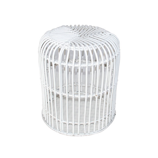 Low Stool White Cane Birdcage