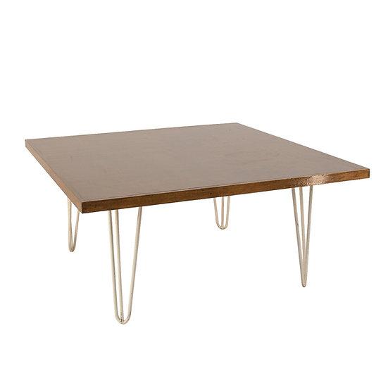 Coffee Table Oak Square w/ White Hair Pin Legs