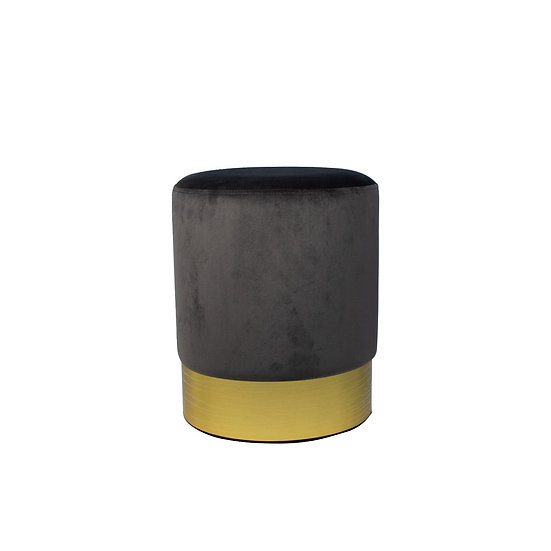 Ottoman Grey Charcoal Velvet Round w/ Gold Trim