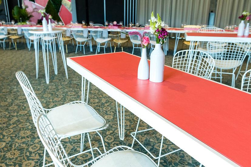 Tapas Table Coral Top, White Frame w/ White Hair Pin Legs