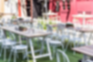 White wash trestle table, table hire, trestle table hire, white bistro chairs, outdoor event styling, White event look, Brandition furniture hire