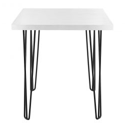 Cafe Table White Square w/ Black Hair Pin Legs