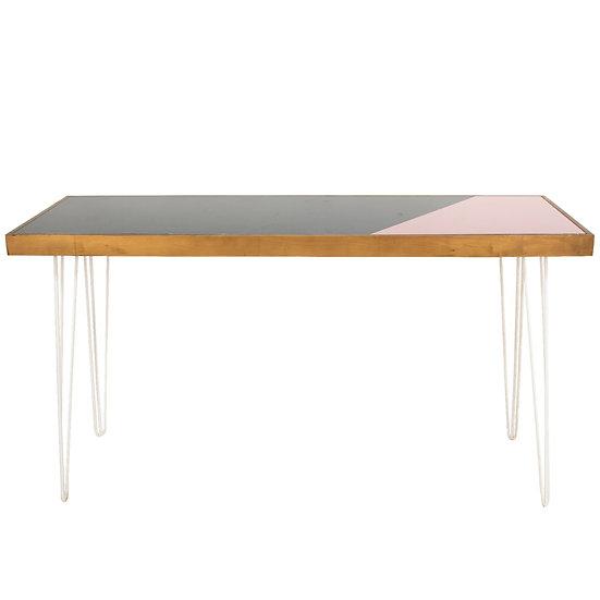 Tapas Table Green & Pink Top, Oak Frame w/ White Hair Pin Legs