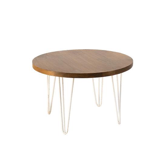 Coffee Table Oak Round w/ White Hair Pin Legs