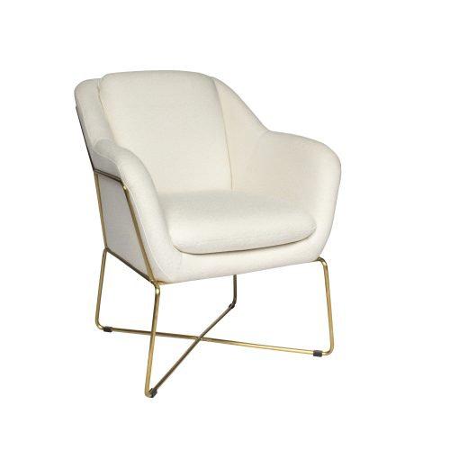 Chair White Velvet w/ Gold Legs
