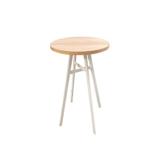 Dry Bar Timber Round w/ White Metal Legs