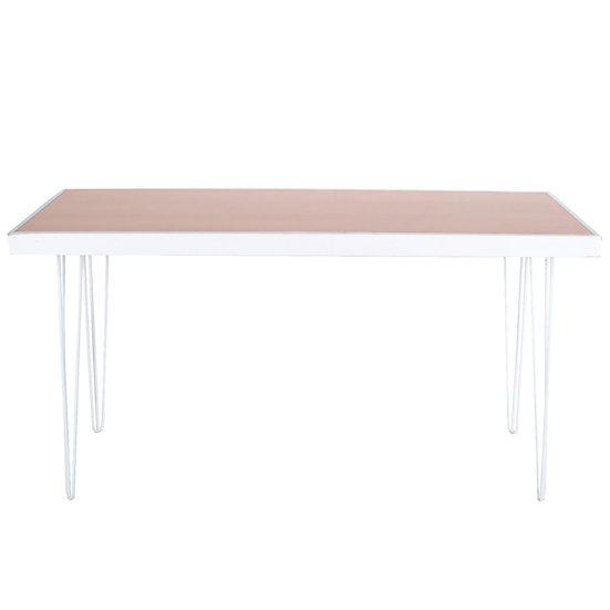 Tapas Table Pale Terracotta Top, White Frame w/ White Hair Pin Legs