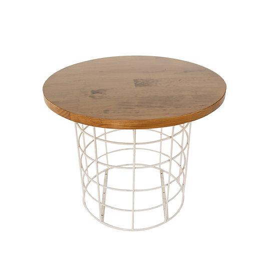 Coffee Table Oak Round w/ White Wire Base